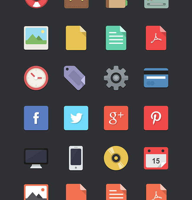 Free download: 48 Fully Scaleable Flat Designer Icons